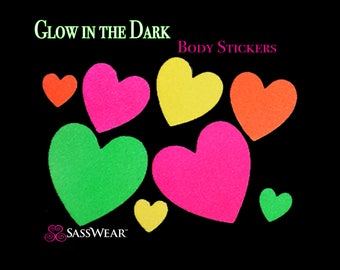 Heart Glow in the Dark Body Stickers - Glow Party - Heart Nipple Sticker - Sexy Costume - Neon Hearts - Valentine Gift - Glitter Hearts