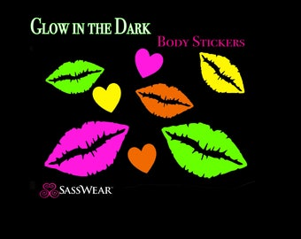 Lip Kisses Glow in the Dark Body Stickers - Glow Party - Lips Nipple Sticker - Sexy Costume - Neon Kisses
