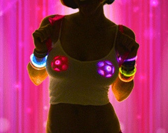 Light Up LED Pasties, Pink Star Pasties, Rave Outfit, Bridesmaid Gift, Glow Party