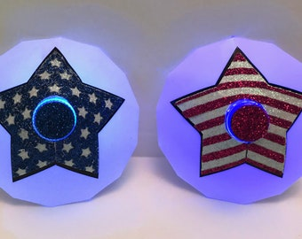 July 4th Star LED Pasties - Patriotic, Flag, Light Up, Red, White, Blue, Fourth of July Shirt