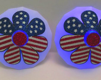 July 4th Daisy LED Pasties - Patriotic Pasties, Flag, Light Up, Red, White, Blue, Fourth of July Shirt, nipple covers