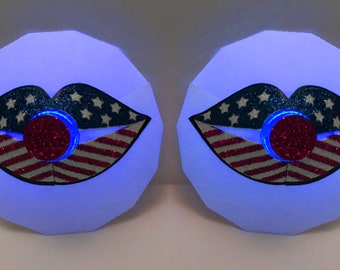 July 4th Lips LED Pasties - Patriotic Pasties, Flag, Light Up, Red, White, Blue, Fourth of July Shirt, nipple covers