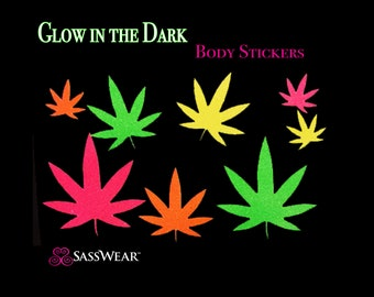 Pot Leaves Glow in the Dark Neon Body Stickers- Neon Weed Blacklight, Reusable, Tattoo, Glow Costume, Rave Clothes, 420 Costume Festival