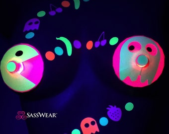 Pacman LED Pasties, Light Up Pac Man Costume, Pac-Man Cosplay, Pacman Stickers, Video Game Costume, Geek Clothes