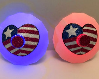 July 4th Heart LED Pasties - Patriotic, Flag, Light Up, Red, White, Blue, Fourth of July Shirt