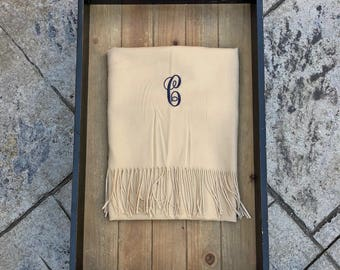 CREAM PASHMINA SCARF - Personalized Scarf - Bridesmaid Scarf - Bridesmaid Shawl - Personalized Gift - Blanket Scarf - Pashmina Wrap - Shawl