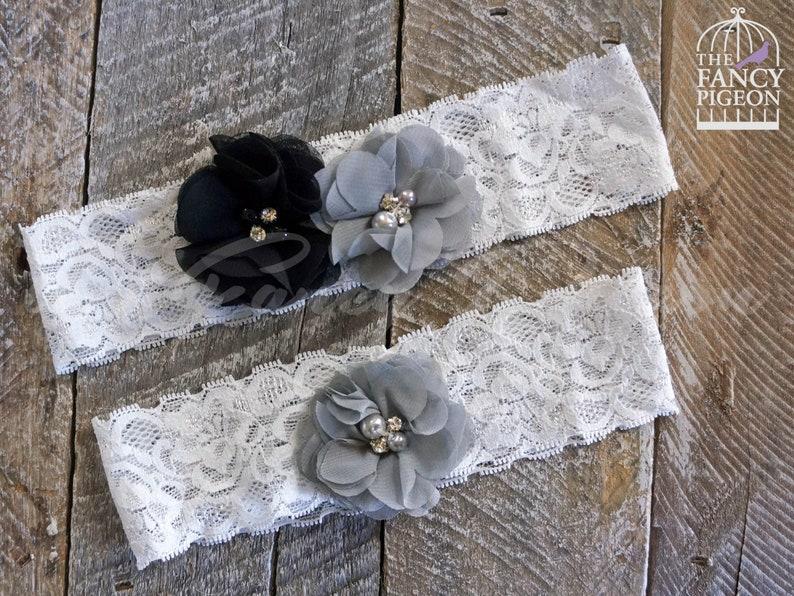 91bc450009 BLACK BRIDAL GARTER Lace Wedding Garter Set Fancy Garter | Etsy