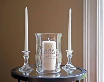 Unity Candle Holder Set - Name & Est. - Vinyl Wedding Monogram - Glass Candle Holder - Wedding Candle - Unity Ceremony - Unity Set