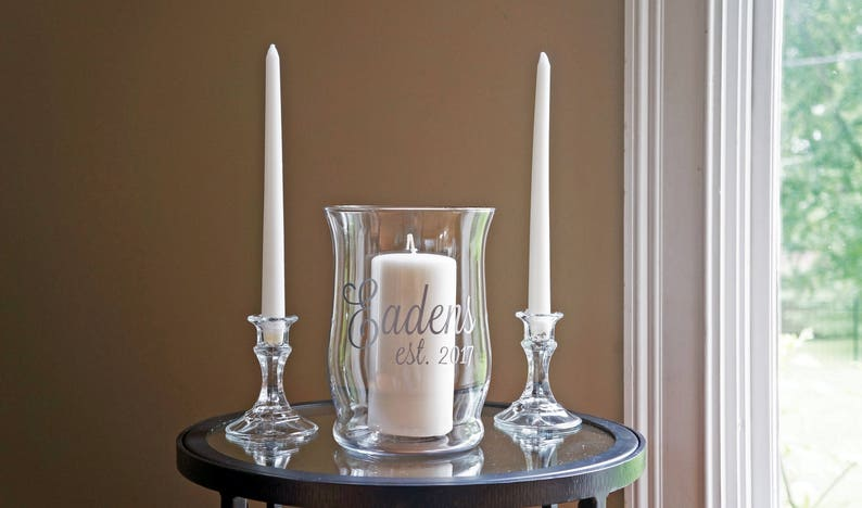 Unity Candle Holder Set  Name & Est.  Vinyl Wedding Monogram image 0