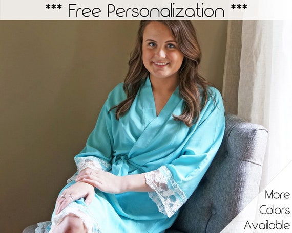 COTTON LACE ROBES Teal Lace Robes Getting Ready Robes  b4d6807f1
