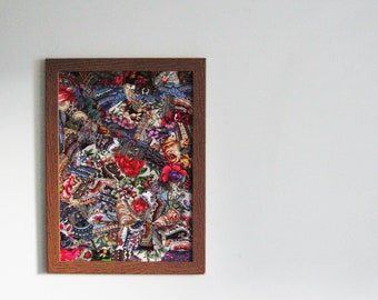 Patchwork Collage Art Decor made from Pavlovo Posad Scarves