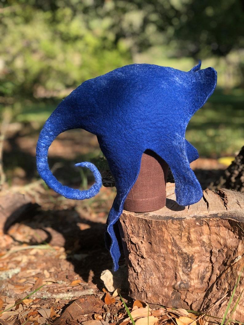Felted Blue Elf Hat