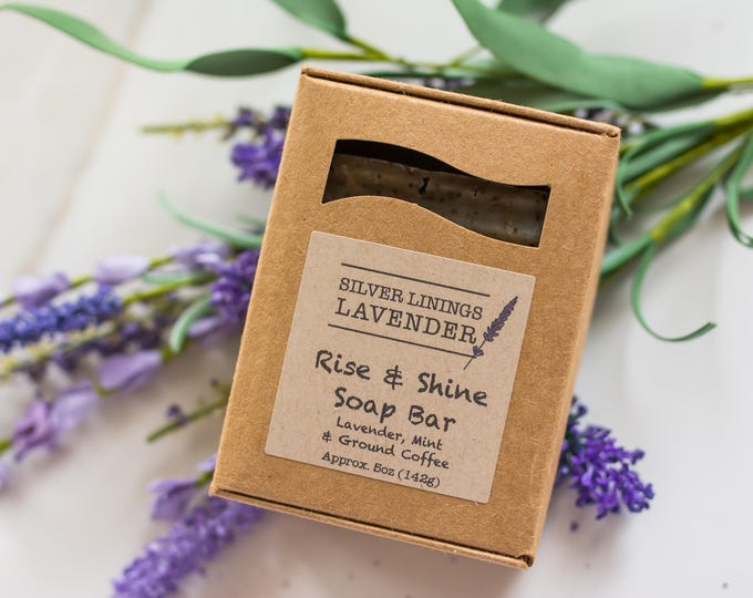 Rise & Shine Soap Bar  (lavender and mint w/ exfoliating coffee grounds)