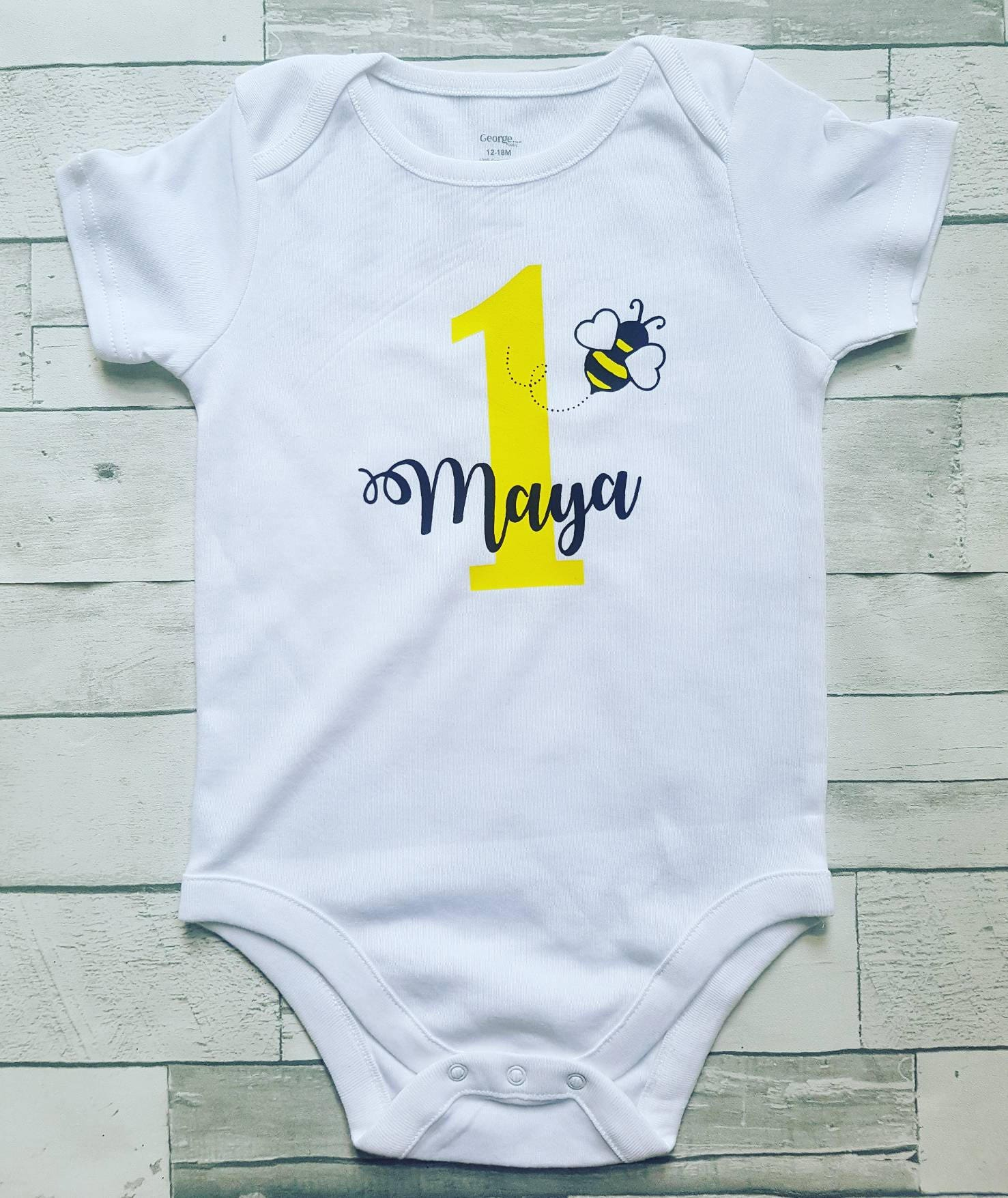 Personalized Bee First Birthday Onesie Or Shirt 1st