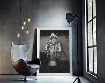 Black Madonna - Religious Photography, Virgin Mary Statue, New Orleans Wall Art, Black and White, Catholic Iconography
