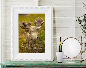 Moose Statue Photography - Spring Wall Art, Green Art, Cute, Animal, Moose lover gift, print or photo canvas