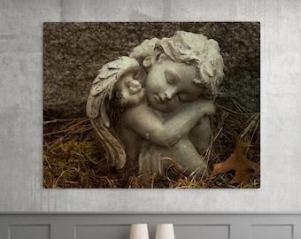 Autumn Cherub Photography - Angel Photograph, Cemetery Gothic Art, Fine Art Print and Photo Canvas