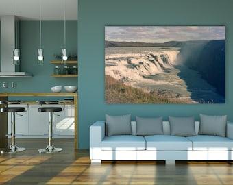 Gulfoss Waterfall Photograph - Iceland photography, travel, nature, landmark, rainbow, fine art photo and canvas print