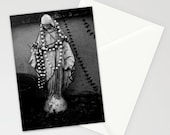 Madonna Black Stationary - greeting card set, blank card, spiral notebook, journal, black and white photography, religious, New Orleans