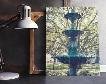 Savannah Fountain Photograph - travel photography, Georgia, Lafayette Square, cityscape, landmark, Spring, green, print or canvas home decor