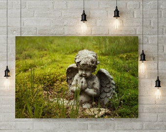 Spring Cherub Photograph - Religious Photography, Angel, Green Gass, Moss, gothic wall art, prints and canvas
