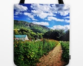 Rustic Farm Tote Bag - fine art photography, wearable art, New England farm, Mountain View, Summer, Reusable Bag, Canvas Tote,