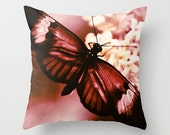 Mauve Butterfly Pillow Cover - fine art cushion, red cream home decor, garden art photography, insect photograph, nature, botanical, flower