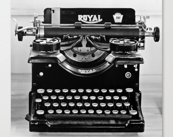 Vintage Whole Typewriter black and white fine art photography print type writer retro look office alphabet letters wall decor gifts under 50