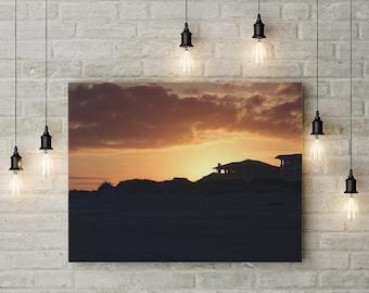 Sunset Silhouette on Tybee Island Photograph - fine art photography prints, beach decor, travel, Georgia, ocean, orange, yellow, beach house