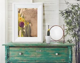 Girl Smells Flower Photograph - fine art photography, garden art, Macro, Flower, Nature, Tulip, Spring, Statue, Purple, Green, Yellow