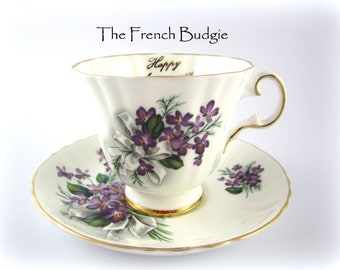 Excellent condition. Royal Grafton Happy Anniversary Violets English Bone china tea cup /& saucer with silver trim