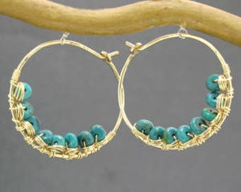 Hammered hoops with turquoise Cleopatra 87