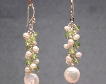 Peridot with Ivory Pearl earrings Princess 200