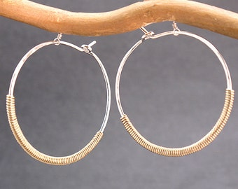 Hammered hoops wrapped with opposite metal Nouveau 12