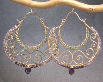 Amethyst, tanzanite, and peridot on hammered swirl hoops Siren 228