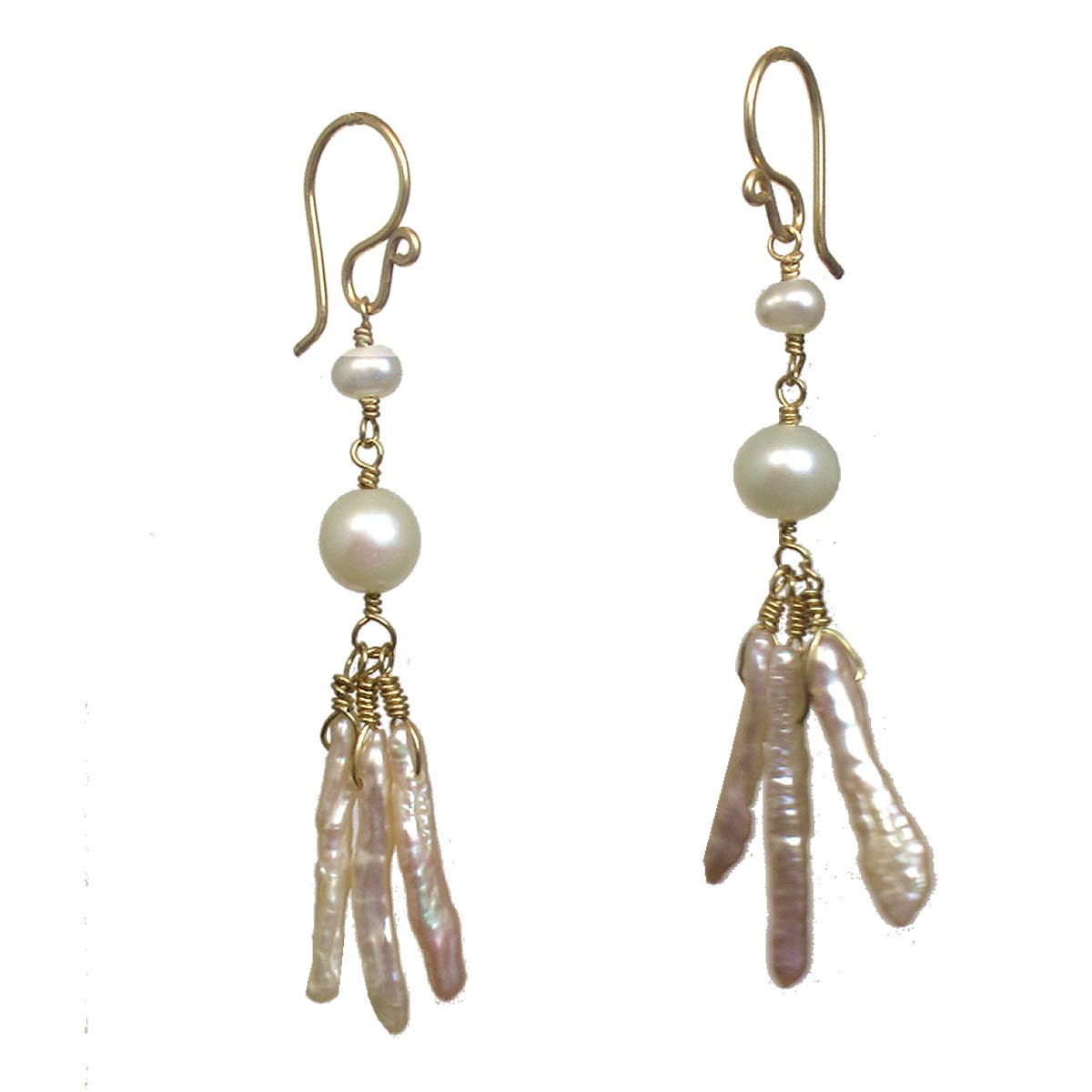 Ivory Pearls With Pale Pink Biwa Pearl Earrings
