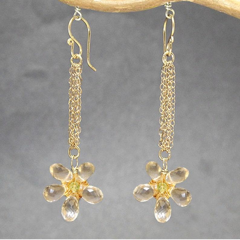 Green Amethyst Flower Earrings Venus 142
