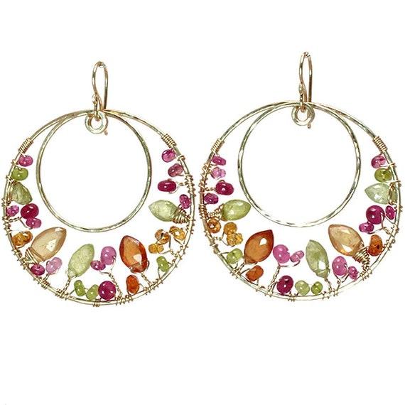 idocrase Luxe Bijoux 104 Hammered swirl hoops ruby mandarin garnet