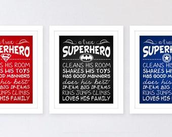 Custom Children Baby Nursery Room Decor Boys Real Superheroes Clean Their Rooms Share His Toys Typography Art Print - DIY Digital Printable