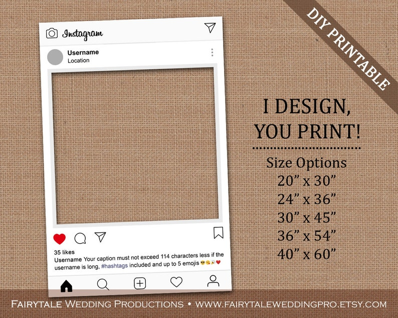 Personalized Instagram Frame Poster Board Prop for Birthdays Weddings  Graduations Corporate Events Bridal Showers - DIY Digital Printable