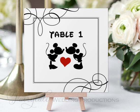 Disney Inspired Mickey Minnie Mouse Wedding 5x5 Square Table Etsy