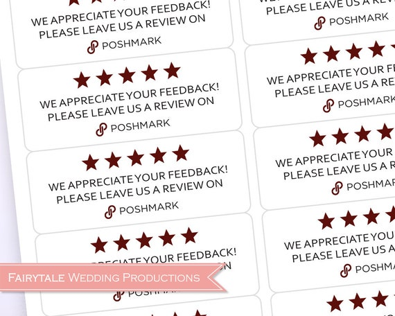 Poshmark Thank You For Your Purchase Please Leave a Review Stickers -  Product Tags 5 Stars Feedback Labels - Sheets of 30