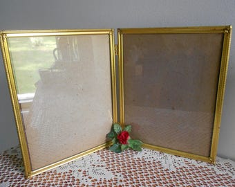 Vintage gold tone brass ornate picture frame 8x10  double hinged
