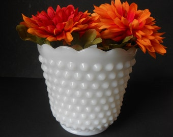 Vintage Fire King planter white milk glass, vase hobnail, scalloped brim