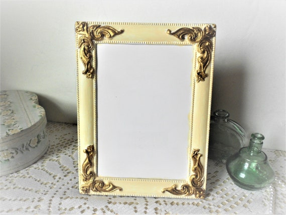 Vintage Cream And Gold Ornate Picture Frame 5x7 With Black Etsy