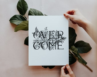OVERCOME Botanical Floral Pen and Ink Hand Drawn Illustration