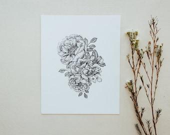 Peonies Botanical Floral Pen & Ink Hand Drawn Illustration