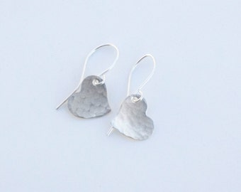 Silver Forged Heart Earrings - Hammered Silver Heart - Organic Silver Heart Earrings - Silver Heart Earrings - Silver Earrings - Valentine