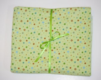 Extra Large Receiving/ Swaddle Blanket Green Brown Blue Polka Dots 36x42