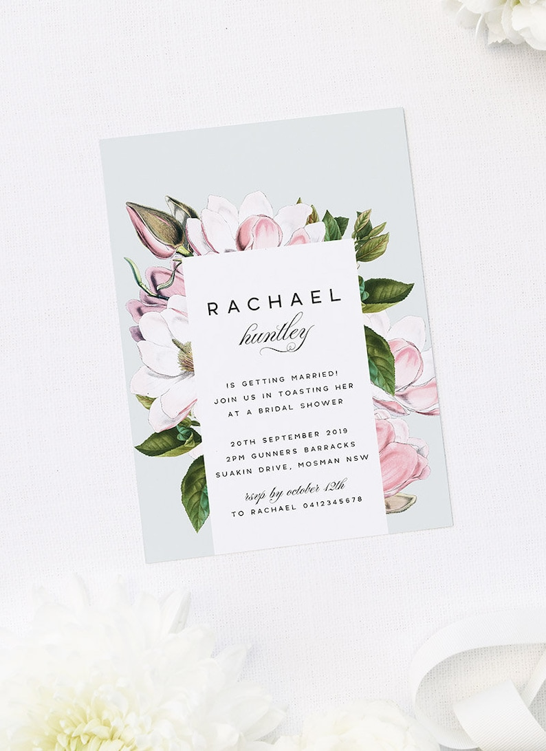 Elegant Magnolia Flowers Bridal Shower Invitations Stunning Etsy